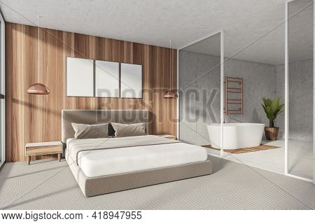 Modern Bathroom Bedroom Interior In New Luxury Home. Stylish Hotel Room. Open Space Area With 3 Post