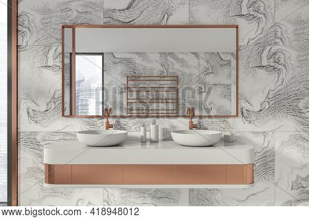Modern Bathroom Interior In New Luxury Home. Stylish Hotel Room. Open Space Area. White Marble Walls