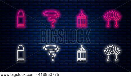 Set Line Lasso, Dynamite Bomb, Bullet And Indian Headdress With Feathers. Glowing Neon Icon On Brick