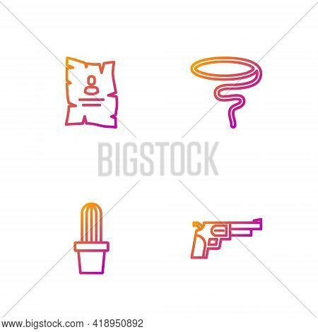 Set Line Revolver Gun, Cactus Peyote In Pot, Wanted Western Poster And Lasso. Gradient Color Icons.