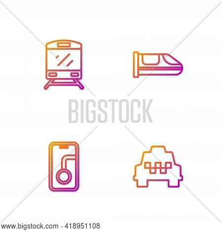 Set Line Taxi Car, City Map Navigation, Train And High-speed Train. Gradient Color Icons. Vector