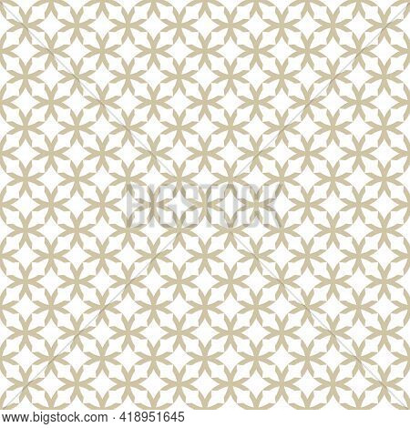 Golden Grid Texture. Vector Geometric Seamless Pattern With Crosses, Grid, Lattice, Flower Silhouett