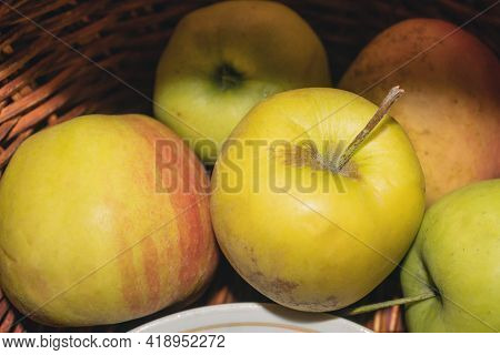 There Are Fresh And Juicy Apples In The Basket. Useful Product