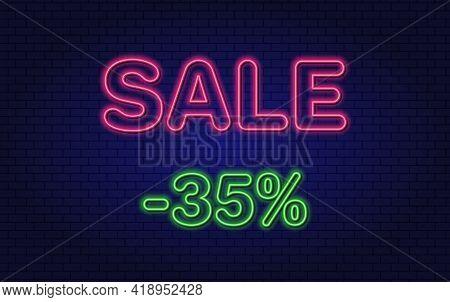 Discount 35 Percent Off. Neon Design Element. Glowing Vector Text.