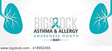 Vector Illustration Of Asthma And Allergy Awareness Month Observed Each Year In May. People May Have