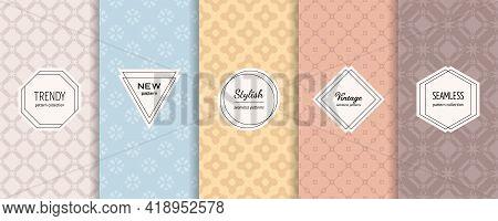 Floral Geometric Seamless Patterns. Vector Set Of Stylish Pastel Backgrounds With Elegant Minimal La