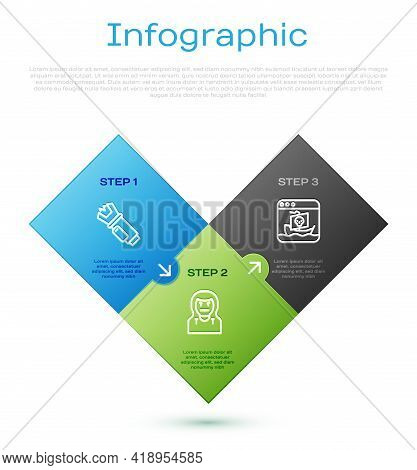 Set Line Police Electric Shocker, Internet Piracy And Thief Mask. Business Infographic Template. Vec