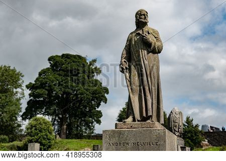 Stirling, Scotland - August 13, 2019: The Stone Statue Of Andrew Melville, Scottish Theologian, Poet
