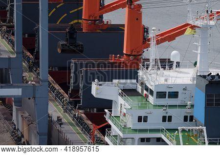 Maritime Transport - Merchant Vessel In Seaport