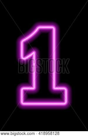 Neon Pink Number 1 On Black Background. Learning Numbers, Serial Number, Price, Place. Vector Illust