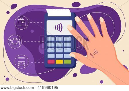 Human Microchip Implant In Hand. Nfc Implant. Implanted Rfid Transponder. Payment By Hand.