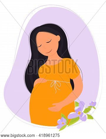Pregnancy. Woman Is Pregnant Isolated On White Background. Pregnant Woman, Concept Vector Illustrati