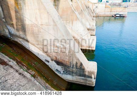 Concrete Dam Of Hydro Power Plant .  Concrete Dam Spillway Gate