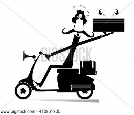 Delivery Man With Boxes Of Food Drives A Scooter Illustration. Long Mustache Comic Cook Holds Boxes