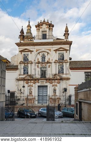 Seville, Spain - 08 April, 2019: View Of The Church In The Historical Center Of Seville, A Big Touri