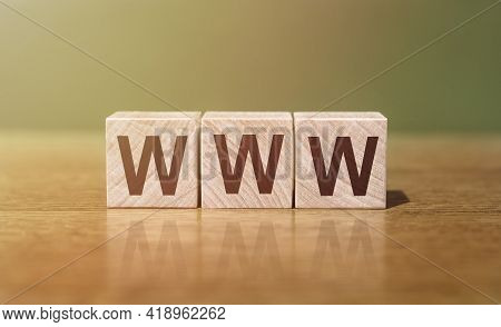 A Wooden Blocks With The Word Www World Wide Web. Business Concept