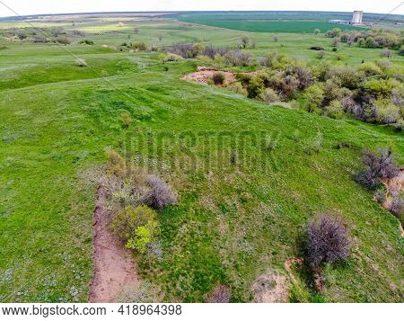 Landskape Drone View On Green Ravine In Spring Sunny Day At Steppe