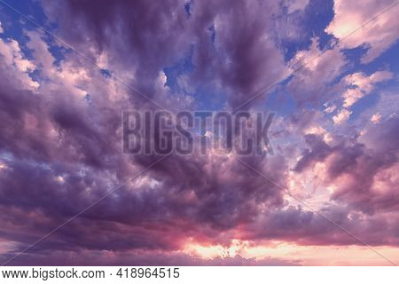 Amazing Cloudscape On The Sky At Sunset Time After Rain