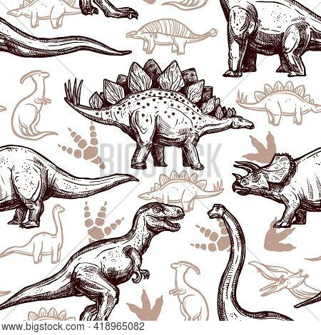 Prehistoric Dinosaurs Reptiles With Footprints On Background Seamless Wrap Paper Pattern Two-color D