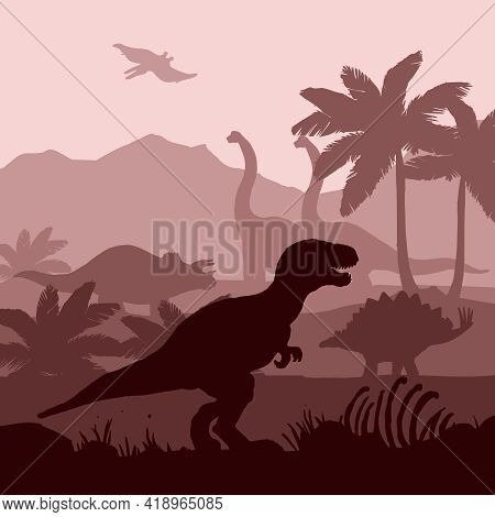 Dinosaurs Silhouettes In Prehistoric Environment Overlapping Layers In Brown Shades Decorative Backg