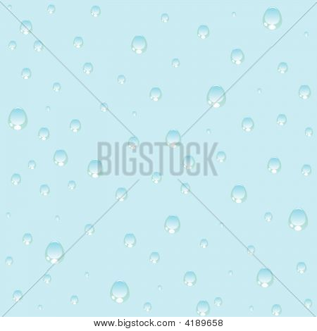 Seamless Transparent Water Drops On Blue Background.