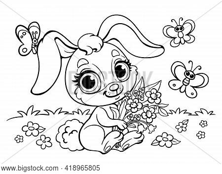 Cute Fluffy Anime Rabbit With A Bouquet Of Flowers. Coloring Book For Children With A Hare. Butterfl