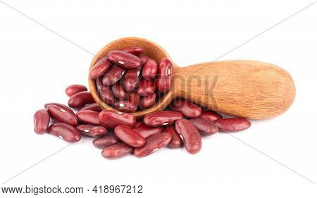 Red Kidney Beans In Wooden Spoon, Isolated On White Background. Rajma Or Mexican Bean. Beans Close U