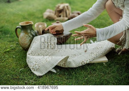 The Traditional Setting For The Traditional Meal On The Grass