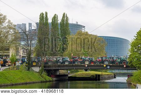 Strasbourg, France - April 30, 2021: One Thousand Tractors Roll For Farmer Protest In Front Of Europ
