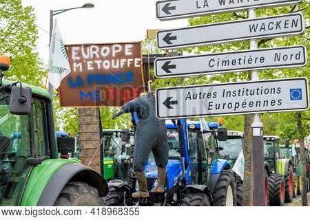 Strasbourg, France - April 30, 2021: Hanged Puppet At Farmer Protest In Front Of Council Of Europe A