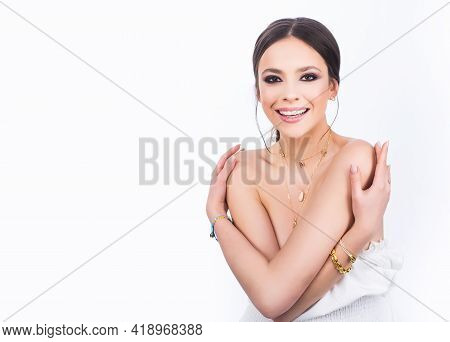 Sensual Female Model Face. Portrait Of Young Woman.