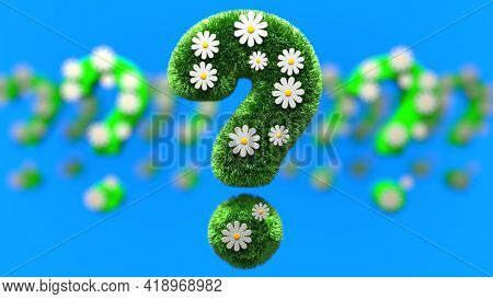 Question Mark Grass Font With Flower Chamomile Isolated On Blue Background. Concept Of Grassed Quest