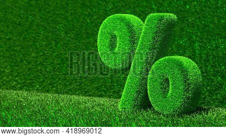 3D Illustration Of Grass Percent On Green Background. Design Of Information Related To The Economy.