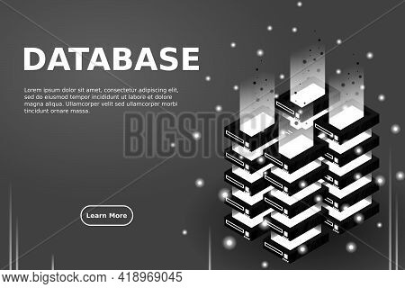 Server Room Isometric Vector, Futuristic Technology Of Data Protection And Processing