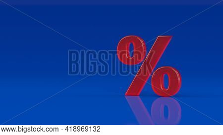 Glossy Glass Red Percent Sign Isolated On Blue Background. Seasonal Sales Background With Percent Di