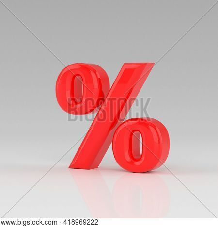 Glossy Red Percent Sign Isolated On Grey Background. Seasonal Sales Background With Percent Discount