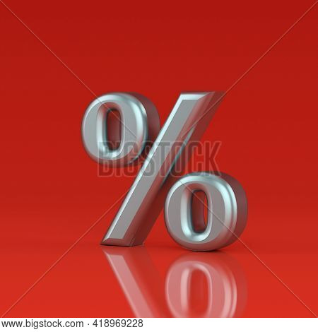 Glossy Iron Red Percent Sign Isolated On Red Background. Seasonal Sales Background With Percent Disc