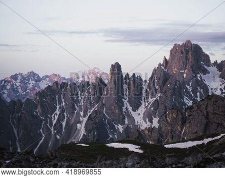 Alpine Panorama Of Cadini Di Misurina Mountain Range Group From Tre Cime Di Lavaredo Peak Summit In