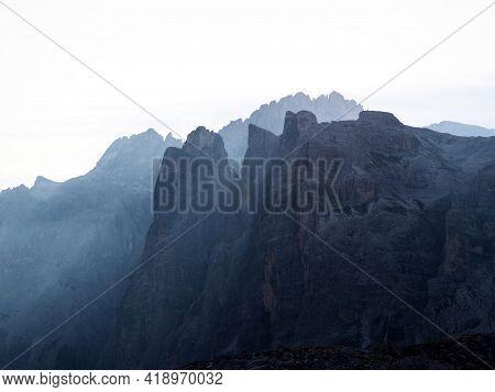 Alpine Panorama Of Tre Cime Di Lavaredo Mountain Peak Summit In Sexten Dolomites Belluno South Tyrol
