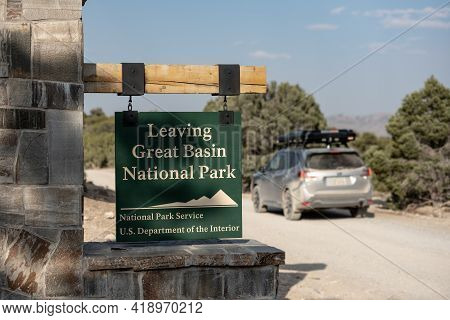 Great Basin National Park, United States: August 4, 2020: Car With Rooftop Tent Leaves Great Basin