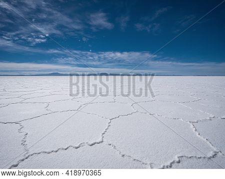 Endless Boundless Infinite Vastness Width Expanse Dreamy Landscape Of Hexagonal Shape White Salt Fla
