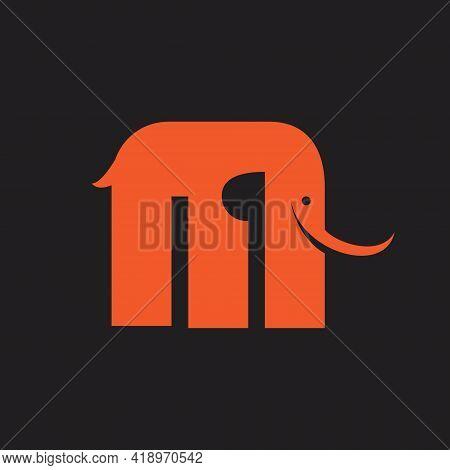 M Logo. Letter Based, Mammoth Shape In Simple Modern Symbol.