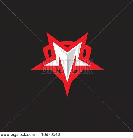 M Star Letter Based Logo In Star Shape. Can Be Used As Brand, Company Logo, Tshirt Print Or Any Othe