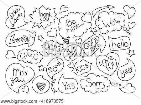 Speech Bubble Comic Sketch Doodle Set. Pop Art Black Line Design Elements Dialog Clouds With Text, L