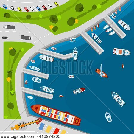 Seaside Dockyard Harbor Terminal Area With Cargo Vessels Top View From Above Poster Flat Abstract Ve