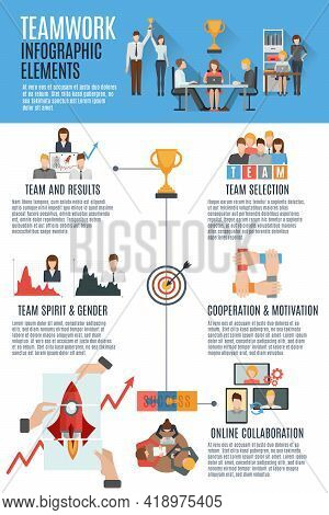 Effective Teamwork Management Strategies For Great Success Informative Text With Flat Pictograms Inf