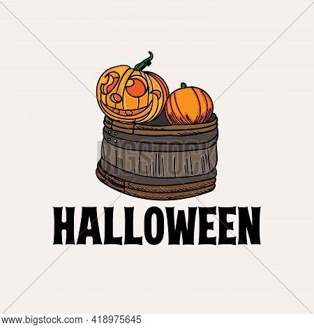 Helloween Icon Logo Vector. Pumpkin Helloween Decoration Vector