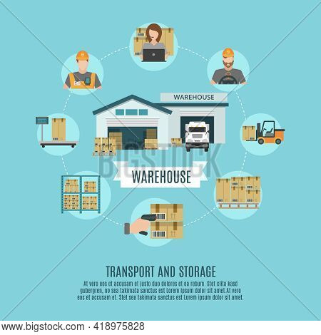 Warehouse Facilities And Workers Storing  Accounting And Moving Cargo Concept Flat Icons Combination