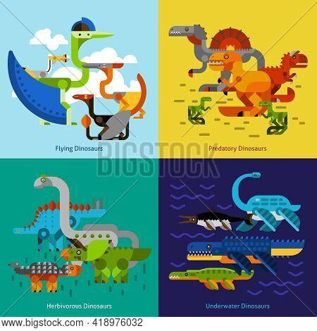 Dinosaur Design Concept Set With Flying Underwater Predatory Prehistoric Animals Flat Icons Isolated