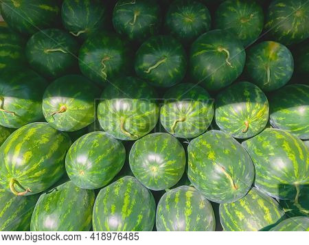 Watermelon Shop Along The Way With Healthy Fruit Vitamin. Fresh Watermelons At The Market In Thailan